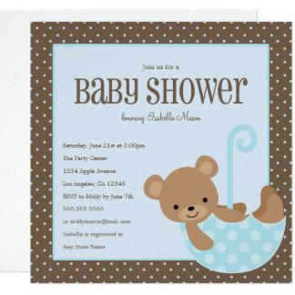 Teddybär im Regenschirm - blaue | Babyparty laden Karte