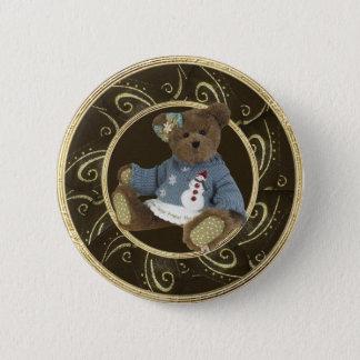 Teddybär im Schneemann-Strickjacke-noblen Knopf Runder Button 5,7 Cm