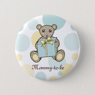 Teddybär-Jungen-oder Mädchen-Babyparty Mama-zu-ist Runder Button 5,1 Cm
