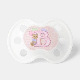 Teddybär-Knirps-Monogramm B Schnuller
