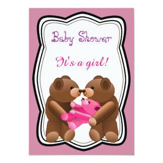 Teddybär-Mädchen-Babyparty 12,7 X 17,8 Cm Einladungskarte