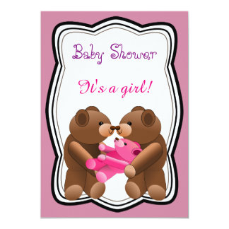Teddybär-Mädchen-Babyparty Karte