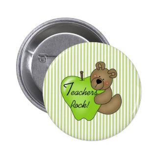 Teddybär mit Apple-Lehrer-Felsen Runder Button 5,7 Cm