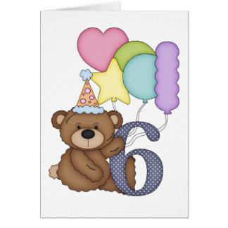 Teddybär mit Ballon-Kinder6. Geburtstags-Karte Karte
