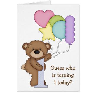 Teddybär mit Ballon-Kindererster Geburtstags-Karte Karte
