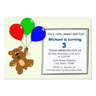 Teddybär mit Ballon-Kindergeburtstag-Party Karte