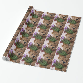 Teddybär mit Callalilien-Packpapier Geschenkpapier