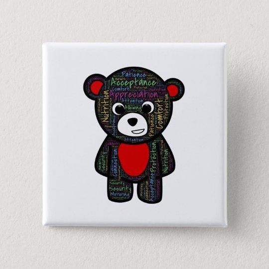 Teddybär mit inspirierend Text clipart Quadratischer Button 5,1 Cm