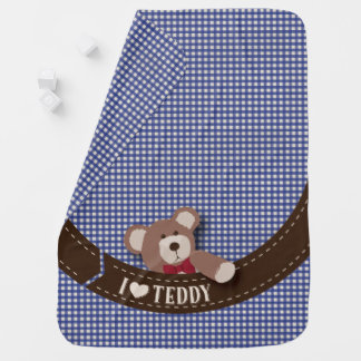 Teddybär-Picknick-Blau-Gingham Babydecke