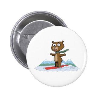 Teddybär-Snowboarder Runder Button 5,1 Cm