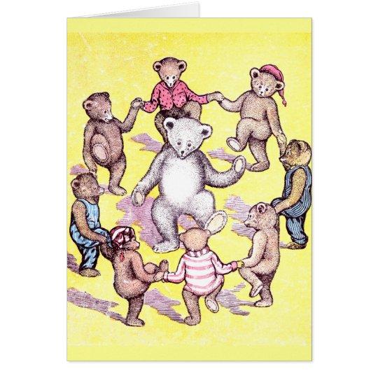 Teddybär-Spiel-Ring um den Rosie Karte