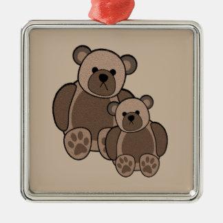 Teddybär-Verzierung Quadratisches Silberfarbenes Ornament