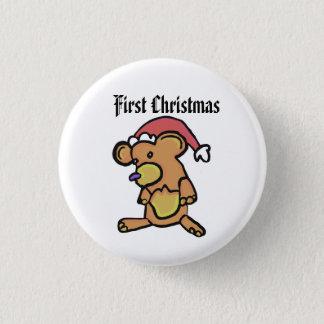 Teddybär-Weihnachten Runder Button 3,2 Cm