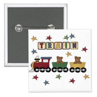 Teddybär-Zug-T-Shirts und Geschenke Quadratischer Button 5,1 Cm
