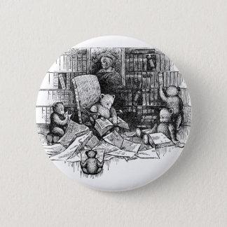 Teddybären, die in der Bibliothek lesen Runder Button 5,1 Cm