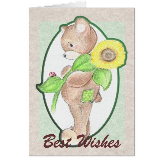 Teddybear, Sonnenblume und Marienkäfer Karte