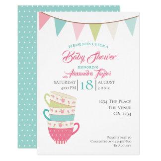 Tee-Party-Baby-Dusche personalisiert Karte