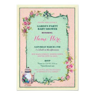 Tee-Party-Baby-Duschen-Garten-Teekanne-Einladung 12,7 X 17,8 Cm Einladungskarte