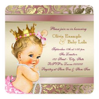 Tee-Party-Baby-Duschen-Rosa und Gold Quadratische 13,3 Cm Einladungskarte
