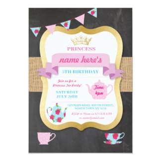 Tee-Party laden Prinzessin Crown Alice Birthday Karte