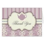 Tee-Party-Vintager Damast danken Ihnen zu Grußkarten