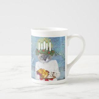 Tee-Schale der Sankt Lucia der Kätzchen Prozellantasse