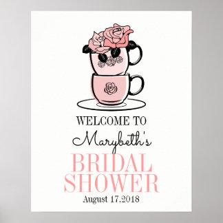 Tee-Schalen-Brautparty-willkommenes Zeichen-Plakat