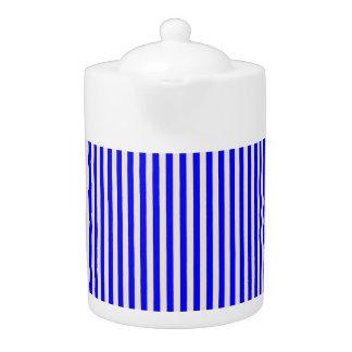 Tee-Topf: Blau, cremefarbene vertikale Streifen