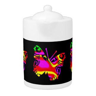 Tee-Topf: Farbiger Schmetterling, schwarzer