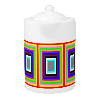 Tee-Topf: Farbiges Rechteck-Motiv