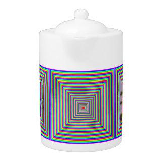 Tee-Topf: Quadrate - optische Täuschung (Motiv).