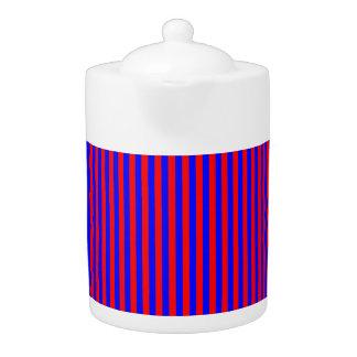 Tee-Topf: Rot, blaue vertikale Streifen