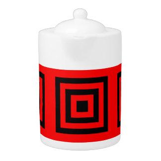 Tee-Topf: Schwarzer roter Hintergrund der