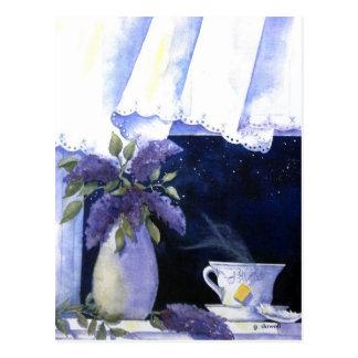Tee-und Flieder-Postkarte Postkarte