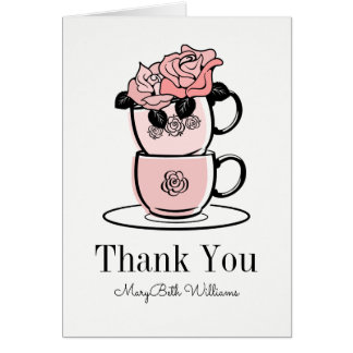 Teeteacup-Blumen danken Ihnen zu kardieren Grußkarte
