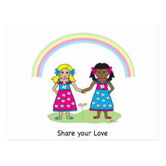 Teilen Sie die Liebe - Gleichheit für alle Postkarte