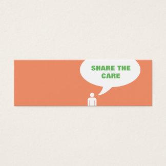 teilen Sie die Sorgfaltsprache-Blasenempfehlung Mini-Visitenkarten