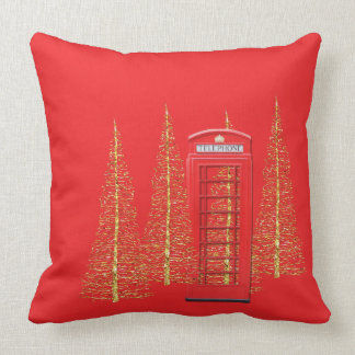 Telefonzelle-Goldbaum-Wurfs-Kissen Londons rotes Zierkissen