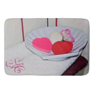 Teller der Seife und Tuch-der großen Bad-Matte Badematte