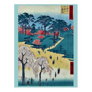 Tempel-Gärten, Nippori durch Andō, Hiroshige Postkarte