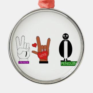 TEMPERATUR-FRIEDENSLiebe ASL Silbernes Ornament