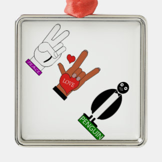 TEMPERATUR-FRIEDENSLiebePENGUINS ASL Silbernes Ornament