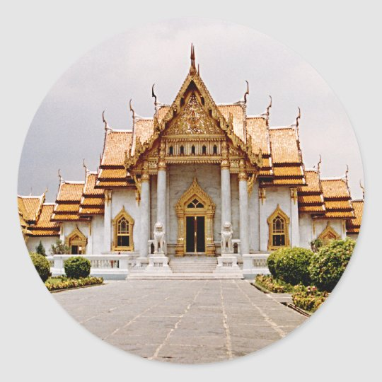 Temple de marbre d'or au-dessus d'étiquette sticker rond