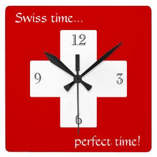 Temps suisse ! horloge carrée