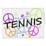 Tennis farbige Friedenszeichen Grußkarte