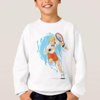 Tennis-Spieler, der Schläger hält Sweatshirt