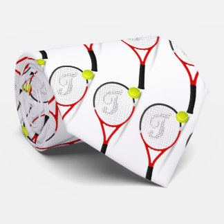 Tennisschläger und -ball für sportly bemannt auf krawatte