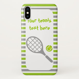 Tennisschläger und grüne Streifen des Balls iPhone X Hülle
