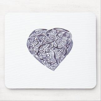 Teppich für Maus schwarzes und weißes Herz Mauspads