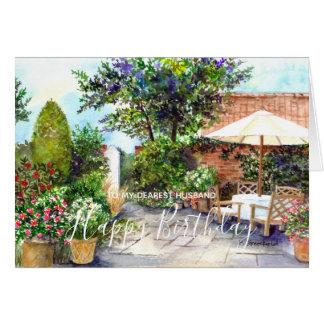 Terrasse der Herrenhaus-Aquarell-Malerei Karte